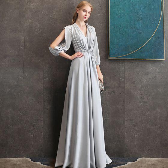 Eleganckie Szary Szyfon Sukienki Wieczorowe 2020 Princessa V-Szyja Bufiasta 3/4 Rękawy Frezowanie Szarfa Długie Wzburzyć Bez Pleców Sukienki Wizytowe