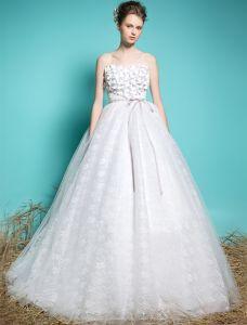Kjæreste Brudekjoler 2016 Applikerte Blomster Beading Krusning Glitter Ball Kjole Brudekjole Med Sash