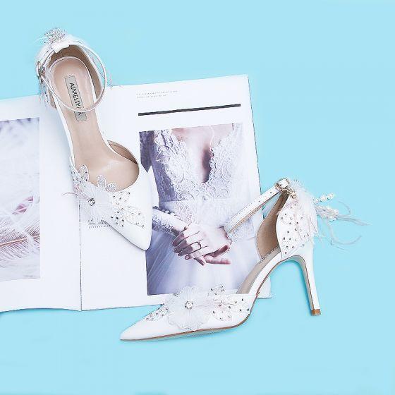 Élégant Ivoire Chaussure De Mariée 2020 Plumes Bride Cheville Perle Gland Appliques Faux Diamant 9 cm Talons Aiguilles À Bout Pointu Mariage Talons