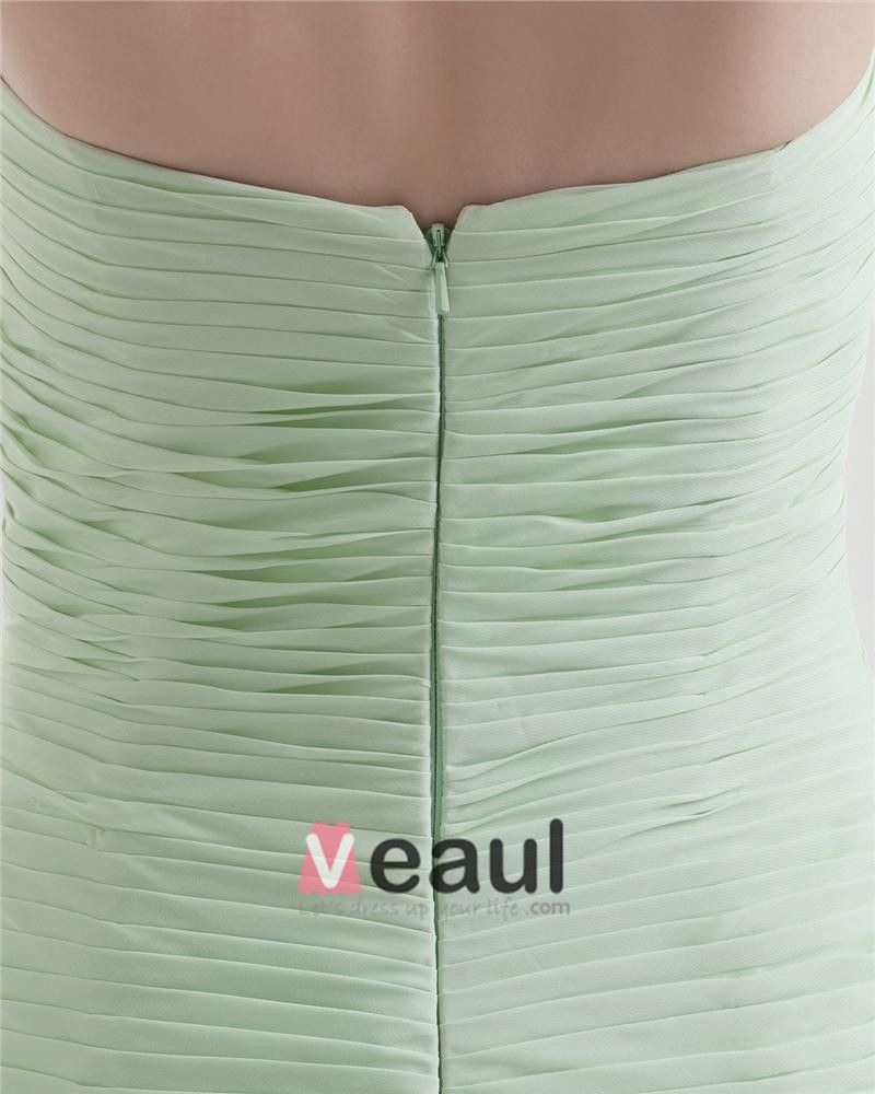 Perles En Mousseline De Soie Des Robe De Bal De Longueur De Plancher Plisse Sans Bretelles