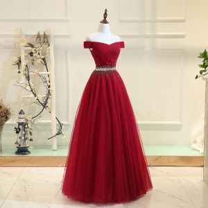 Chic / Beautiful Burgundy Prom Dresses 2017 A-Line / Princess Tulle Backless Beading Rhinestone Prom Formal Dresses