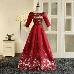 Piękne Czerwone Długie Sukienki Wieczorowe 2018 Princessa U-Szyja Charmeuse Druk Wieczorowe Sukienki Na Bal
