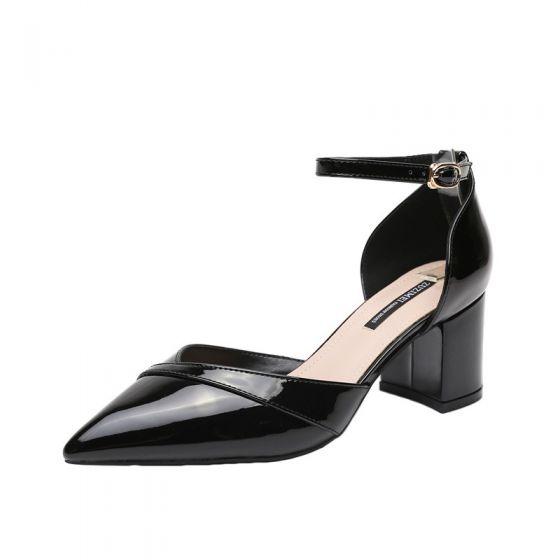 Chic / Belle Noire Désinvolte Sandales Femme 2020 Cuir Verni Bride Cheville 6 cm Talons Épais À Bout Pointu Sandales