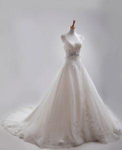 A-linie Quadrat Monarch Zug Satin Stickerei Sicke Brautkleider Hochzeitskleid