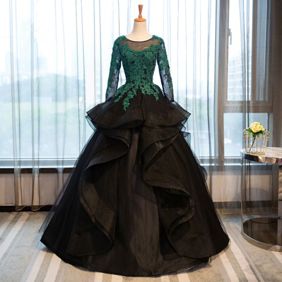 Classic Prom Dresses 2017 Ball Gown Lace Appliques Crystal Scoop Neck Backless Long Sleeve Floor-Length / Long Formal Dresses
