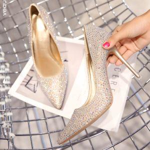 Charming Champagne Wedding Bridesmaid Pumps 2019 Leather Rhinestone 10 cm Stiletto Heels Pointed Toe Wedding Shoes