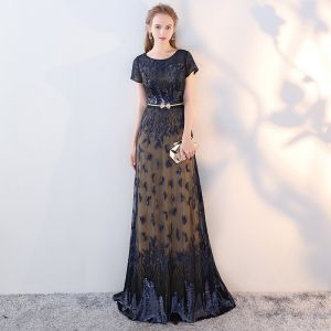 Chic / Beautiful Navy Blue Evening Dresses  2017 A-Line / Princess U-Neck Lace Embroidered Sequins Handmade  Evening Party Formal Dresses