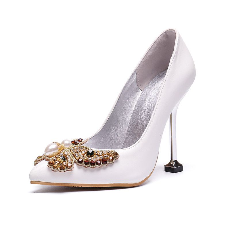 Chic Belle Ivoire Cocktail Chaussures Femmes 2020 Perle