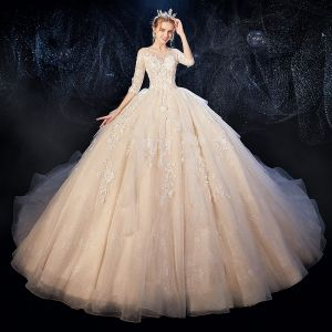 Romantic Champagne See-through Wedding Dresses 2020 Ball Gown Scoop Neck 3/4 Sleeve Backless Glitter Tulle Appliques Lace Flower Beading Cathedral Train Ruffle