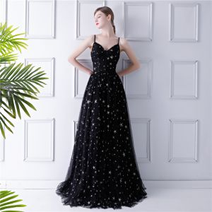 Elegant Black Prom Dresses 2019 A-Line / Princess Spaghetti Straps Sleeveless Star Embroidered Floor-Length / Long Ruffle Backless Formal Dresses