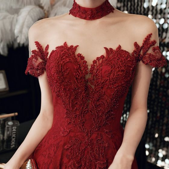 High-end Red See-through Prom Dresses 2020 A-Line / Princess High Neck Short Sleeve Appliques Lace Beading Floor-Length / Long Ruffle Backless Formal Dresses