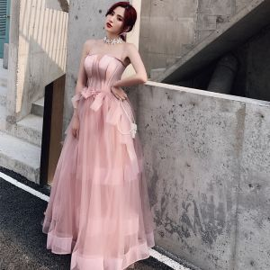 Elegant Pearl Pink Evening Dresses  2019 A-Line / Princess Spaghetti Straps Sleeveless Bow Floor-Length / Long Ruffle Backless Formal Dresses