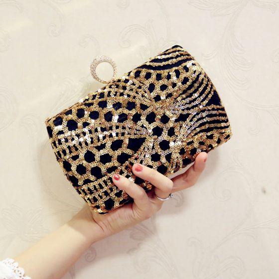 Modern / Fashion Gold Sequins Black Clutch Bags 2018