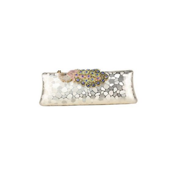 Colorful Peacock Diamond Clutch Bag Retro Style Palace Banquet
