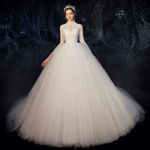 Affordable White Outdoor / Garden See-through Wedding Dresses 2020 Ball Gown High Neck 3/4 Sleeve Beading Pearl Sweep Train Ruffle
