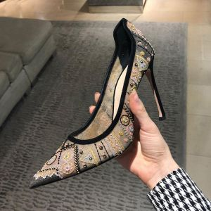 Classy Black Cocktail Party Leather Pumps 2020 Lace Embroidered 9 cm Stiletto Heels Pointed Toe Pumps