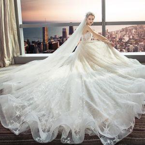 Modern / Fashion Champagne Wedding Dresses 2018 A-Line / Princess Lace Flower Star Spaghetti Straps Backless Sleeveless Cathedral Train Wedding