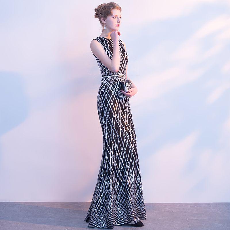 Glitzernden Festliche Kleider 2017 Mermaid Pailletten Metall Stoffgürtel Rundhalsausschnitt Ärmellos Lange Abendkleider