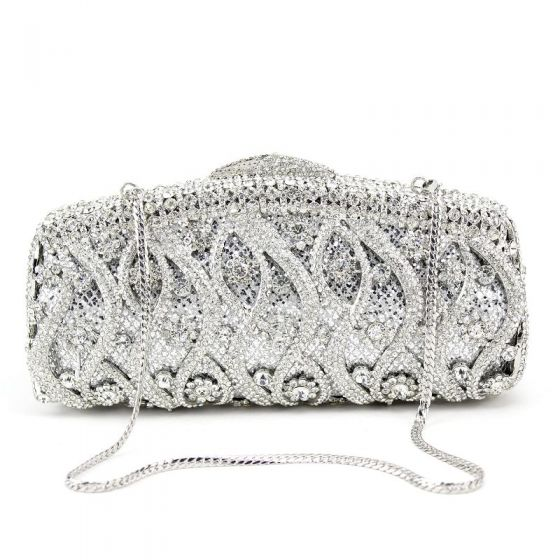 Luxury / Gorgeous Silver Clutch Bags Metal Beading Pierced Rhinestone Handmade  Wedding Cocktail Party Evening Party Accessories 2019