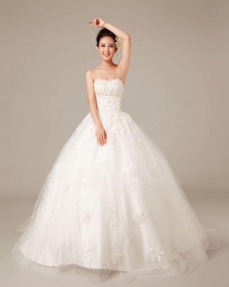 Grasios Applikasjon Beading Kjaereste Satin Ball Kjole Brudekjoler Bryllupskjoler