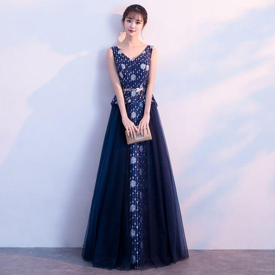 3a05b6ec8c Chic   Beautiful Navy Blue Prom Dresses 2017 A-Line   Princess V-Neck  Sleeveless Printing Flower Metal ...