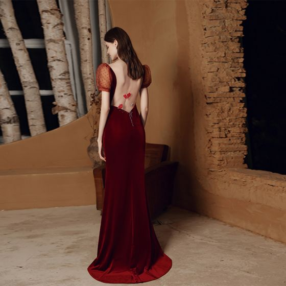 Sexy Burgundy Velour See-through Evening Dresses  2021 Trumpet / Mermaid Deep V-Neck Puffy Short Sleeve Beading Spotted Tulle Floor-Length / Long Backless Formal Dresses