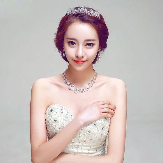 Bridal Fashion Bridal Jewellery Wedding Tiara / Earrings / Necklace Three-piece