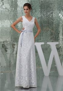 Beautiful White Lace V Neck Bow Sash Long Bridesmaid Dress