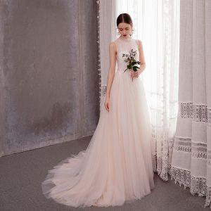 Elegant Light Champagne Outdoor / Garden Wedding Dresses 2020 A-Line / Princess High Neck Sleeveless Appliques Lace Sweep Train Ruffle