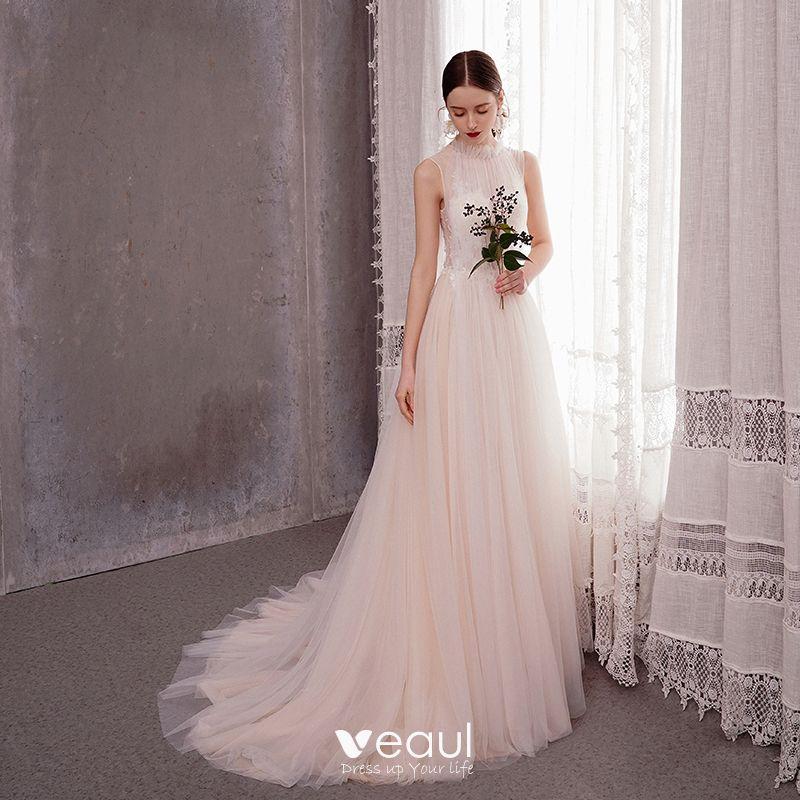 Elegant Light Champagne Outdoor Garden Wedding Dresses 2020