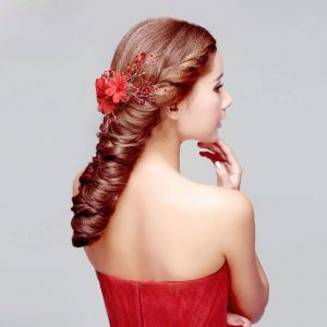 Cristal Rouge Mariée Coiffure / Fleur Tete / Accessoires De Cheveux De Mariage / Bijoux De Mariage