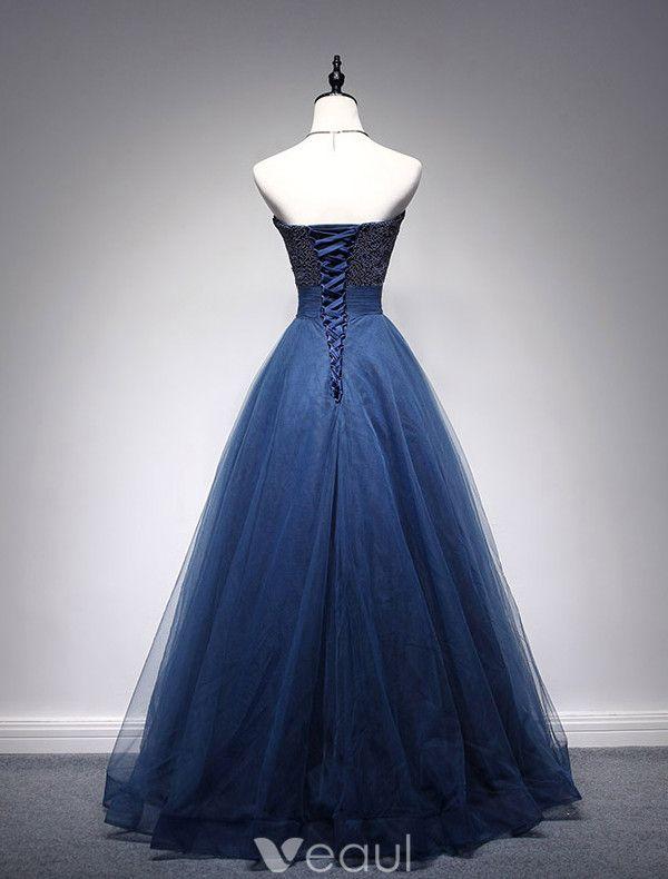 Beautiful Prom Dresses 2016 Beading Sweetheart Neckline Ruffle Navy Blue Tulle Dress