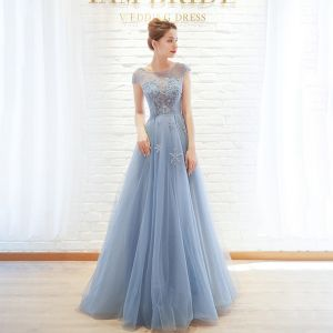 Chic / Beautiful Sky Blue Evening Dresses  2019 A-Line / Princess Scoop Neck Beading Cap Sleeves Floor-Length / Long Formal Dresses
