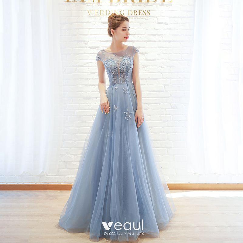 5c8a9245b793e Chic / Beautiful Sky Blue Evening Dresses 2019 A-Line / Princess ...
