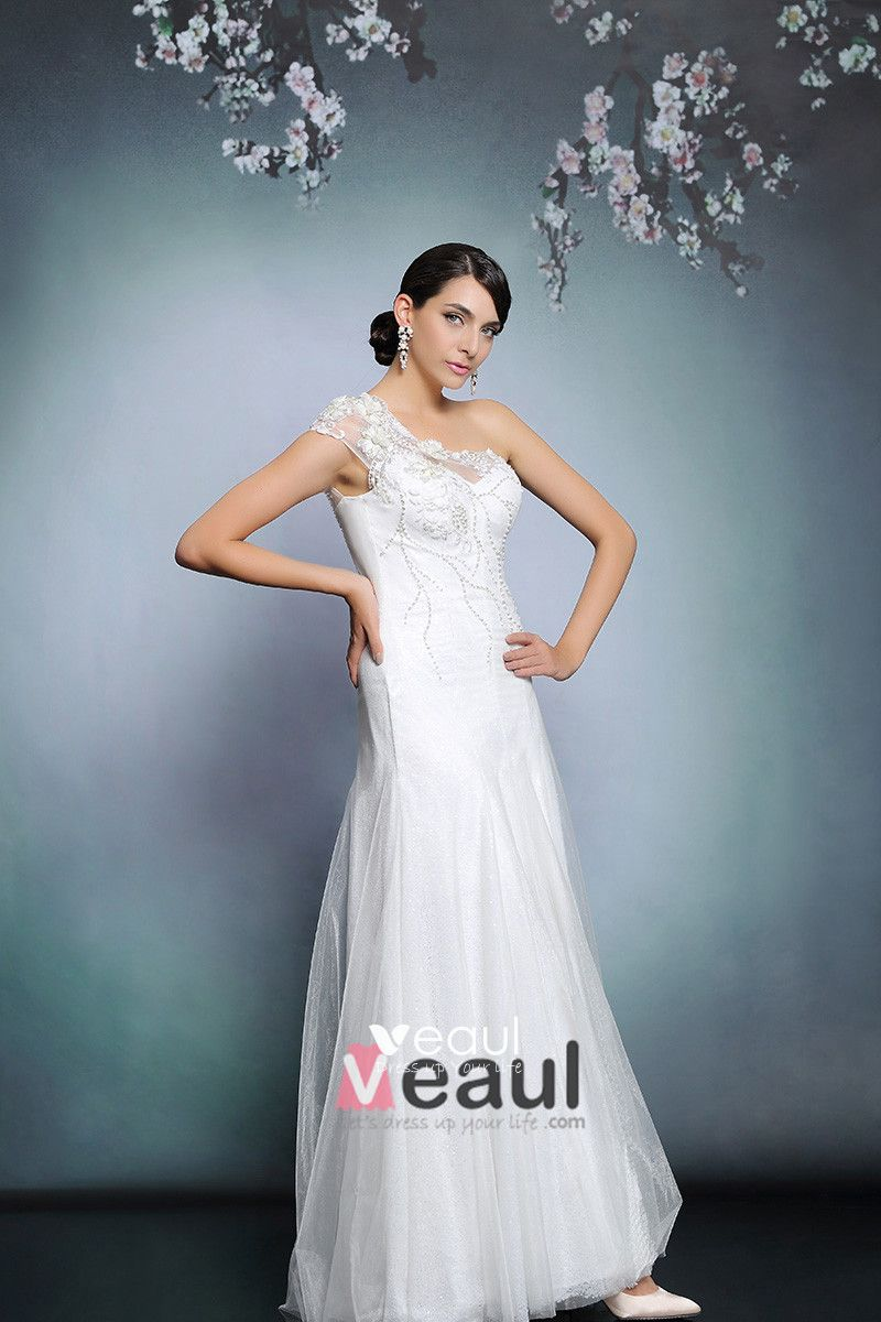 2015 White Beading Appliques Long Evening Dress Party Dress