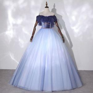 Mode Himmelblau Tanzen Ballkleider 2020 Ballkleid Off Shoulder Kurze Ärmel Perlenstickerei Glanz Tülle Lange Rüschen Rückenfreies Festliche Kleider