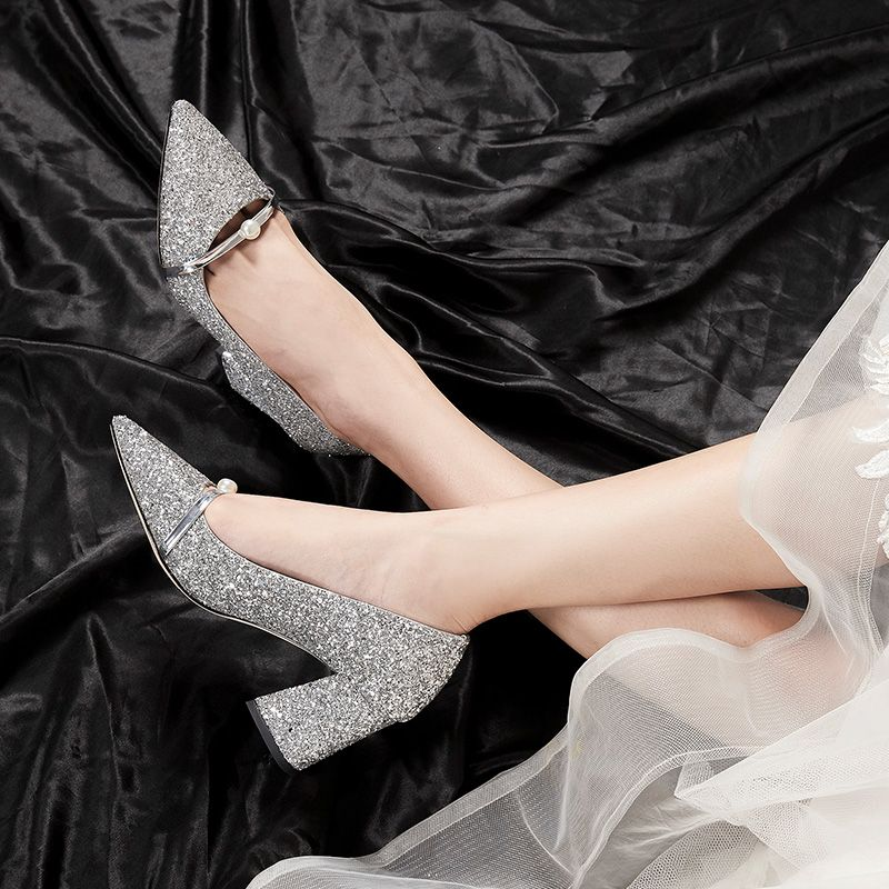 Sparkly Rose Gold Wedding Shoes 2020 Pearl Sequins 7 cm Thick Heels Pointed Toe Wedding Pumps