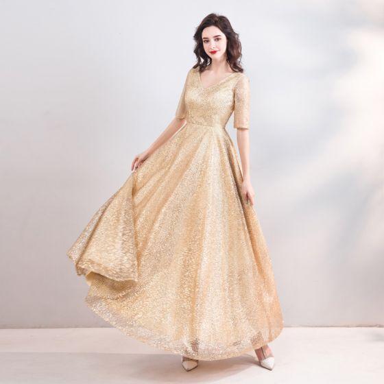 de5ac51c859 Scintillantes Bling Bling Doré Longue Robe De Soirée 2018 Princesse V-Cou  Tulle Dos Nu Perlage Paillettes ...