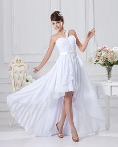 Einen Schulter Rüsche Asymmetrische Chiffon Kurz Brautkleider Mini
