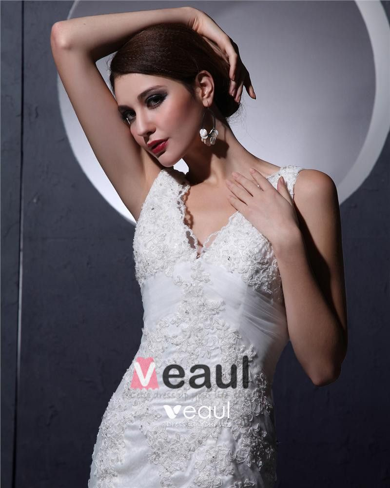Ruffle Beaded Lace Shoulder Straps Court Mermaid Bridal Gown Wedding Dresses