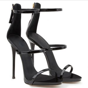 Sexy Zwarte Feest Sandalen Dames 2020 Enkelband 12 cm Naaldhakken / Stiletto Peep Toe Sandalen