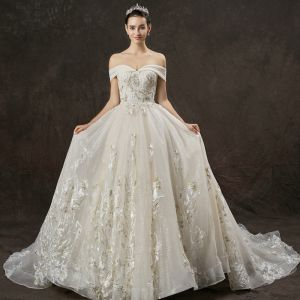 Elegant Champagne Wedding Dresses 2019 A-Line / Princess Off-The-Shoulder Short Sleeve Backless Appliques Lace Beading Pearl Glitter Tulle Cathedral Train Ruffle