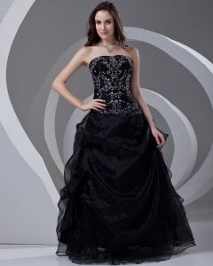 Strapless Beading Embroidery Floor Length Organza Woman Prom Dress