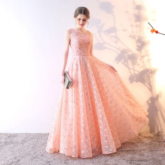 Chic / Beautiful Evening Dresses  2017 A-Line / Princess Lace Sequins Scoop Neck Sleeveless Floor-Length / Long Formal Dresses