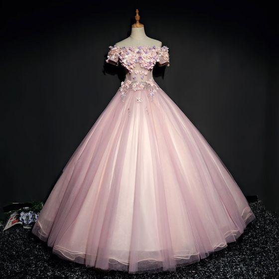 Hermoso Perla Rosada Vestidos de gala 2017 Ball Gown Con Encaje Flor Perla Rhinestone Fuera Del Hombro Sin Espalda Manga Corta La altura del tobillo Vestidos Formales