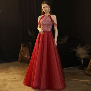 Chic / Beautiful Burgundy Evening Dresses  2020 A-Line / Princess Scoop Neck Sleeveless Beading Glitter Tulle Floor-Length / Long Ruffle Backless Formal Dresses