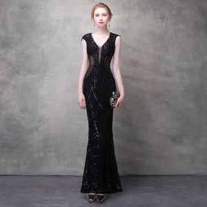 Sexy Black Evening Dresses  2017 Trumpet / Mermaid Lace Flower Crystal Sequins Pierced V-Neck Backless Sleeveless Ankle Length Formal Dresses