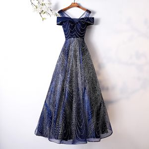 Charming Glitter Navy Blue Evening Dresses  2019 A-Line / Princess Scoop Neck Short Sleeve Backless Floor-Length / Long Formal Dresses