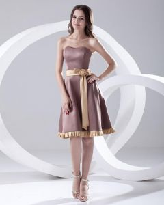 Sweetheart Neckline Sleeveless Thigh Length Flower Satin Woman Bridesmaids Dresses