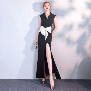 Abordable Noire Robe De Soirée 2019 Trompette / Sirène V-Cou Sans Manches Blanche Noeud Fendue devant Longue Robe De Ceremonie
